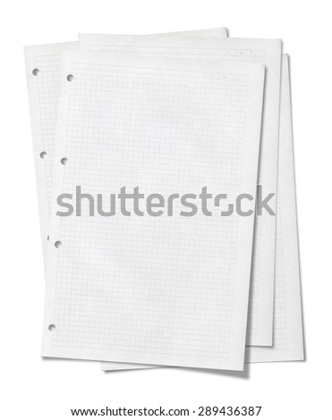 Notepad pages stacked. Isolated on white background. - stock photo