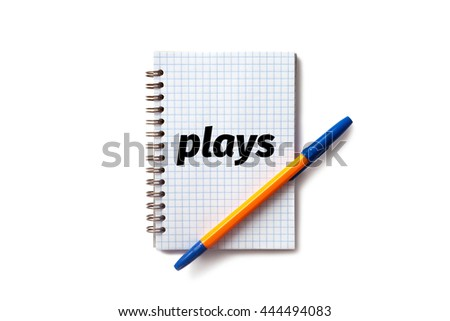 Notepad with orange pen- plays - stock photo