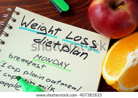 Notepad with sign weight loss diet plan. - stock photo