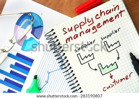 Notepad with  Supply chain management concept on a wooden board. - stock photo