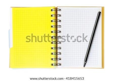 Notepad with yellow plastic cover and pen on it. Isolated on white with clipping path - stock photo
