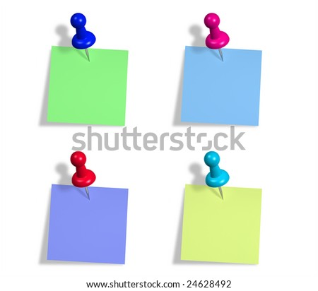 Notes and  color tacks. Clipping path included. - stock photo