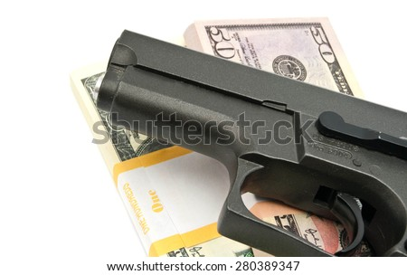 notes and gun closeup on white background - stock photo
