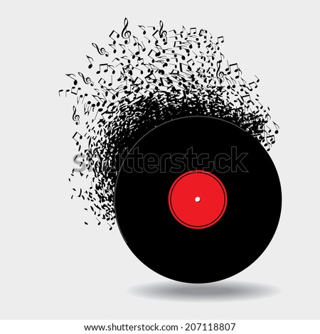 Notes buzz around this music background - stock photo