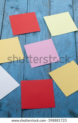 Notes colored papers blank for writing text - stock photo