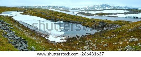 Noth Norway mountain spring tundra valley and small lakes - stock photo