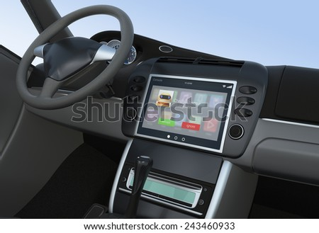 Notification of incoming call for smart car console - stock photo