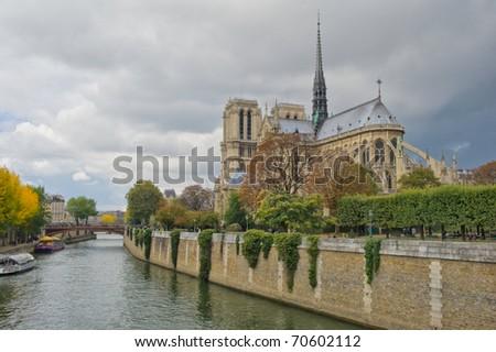 Notre Dam and the Seine river - stock photo