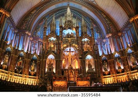 Notre dam Basilica Montreal - stock photo