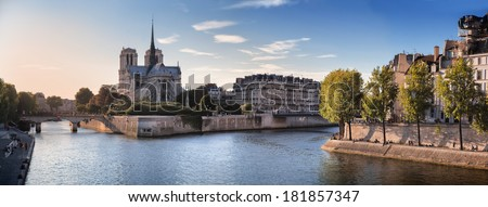 Notre Dame cathedral and River Seine in Paris, France - stock photo