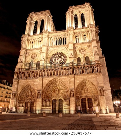 Notre Dame Cathedral At Night - stock photo