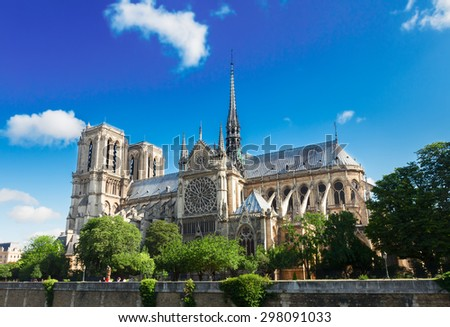 Notre Dame  cathedral  at summer day, Paris, France - stock photo