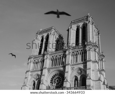 Notre Dame cathedral at sunset and flying (blurred) black birds in the sky (Paris, France). Soul metaphor. Aged photo. Black and white. - stock photo