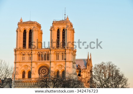 Notre-Dame cathedral at sunset in Paris, France - stock photo