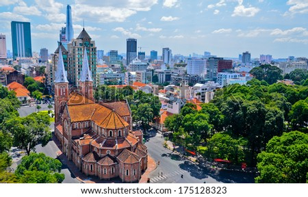 Notre Dame Cathedral ho chi minh city  - stock photo