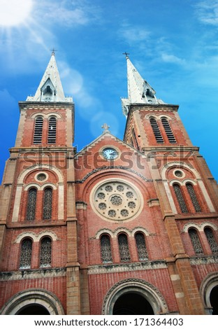 Notre Dame Cathedral, Ho Chi Minh City Vietnam. Basilica of Our Lady of The Immaculate Conception is a cathedral located in the downtown of Ho Chi Minh City, Vietnam. - stock photo