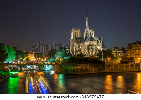 Notre Dame cathedral in the evening, Paris, France - stock photo