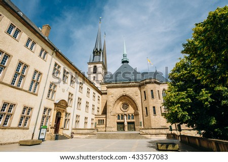 Notre-dame Cathedral, Luxembourg Is The Roman Catholic Cathedral. Grand Duchy Of Luxembourg. It Was Originally A Jesuit Church, And Its Cornerstone Was Laid In 1613. - stock photo