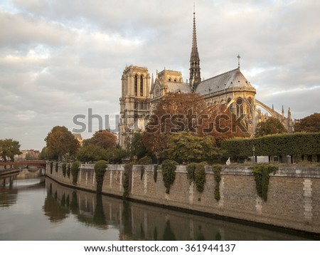 Notre Dame Cathedral, Paris France.The church a blue sky background on the bank of the Seine - stock photo