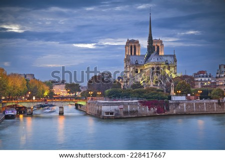 Notre Dame Cathedral, Paris. Image of Notre Dame Cathedral at dusk in Paris, France. - stock photo