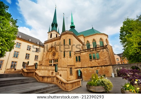 Notre-Dame Cathedral view in Luxembourg - stock photo