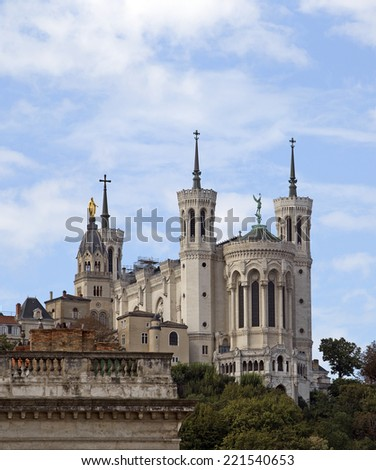 Notre Dame de Fourviere basilica, Lyon, France - stock photo