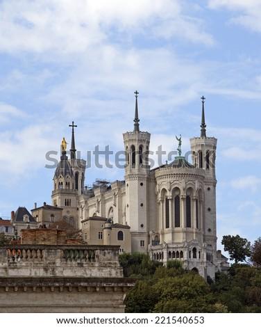 Notre Dame de Fourviere basilica, Lyon, France - stock photo