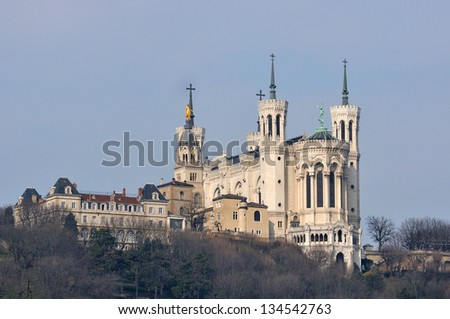 Notre Dame de Fourviers, monument and viewpoint from Lyon, Franc - stock photo