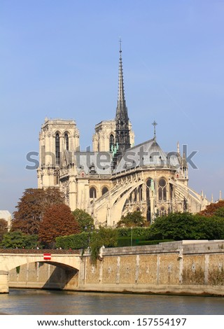 Notre Dame de Paris and the Seine river France in the Paris, France  - stock photo
