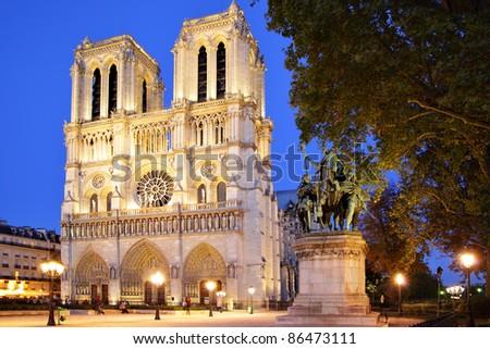 Notre Dame de Paris at evening, France - stock photo