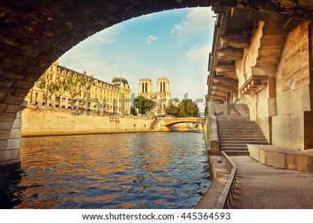 Notre Dame de Paris at sunset, Paris, France - stock photo
