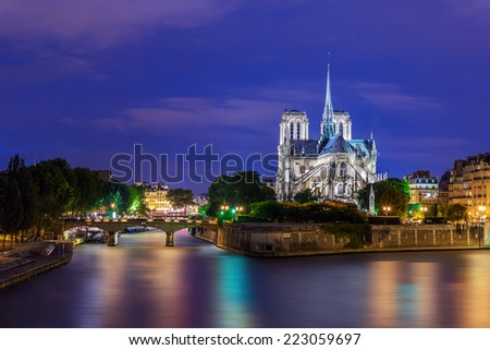 Notre Dame de Paris at Twilight, France - stock photo