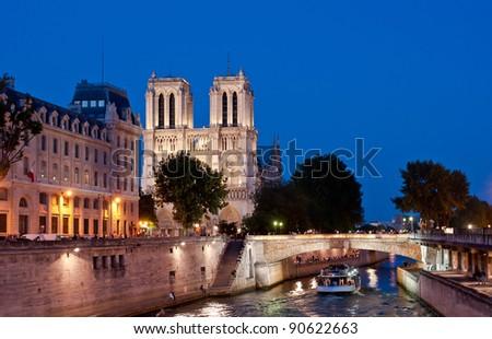 Notre Dame de Paris by Night - stock photo