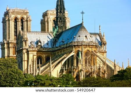 Notre Dame de Paris carhedral on the la seine riversid - stock photo