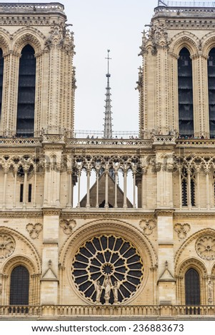 Notre Dame de Paris cathedral is one of the most visited places in Paris - stock photo