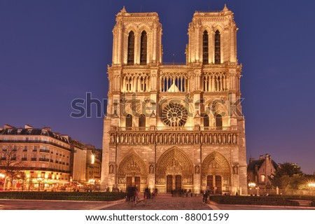 Notre Dame de Paris is a Gothic, Catholic cathedral on the eastern half of the Isle de la Cite in Paris, France - stock photo