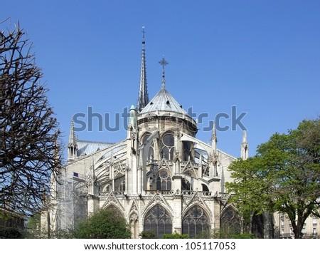 Notre Dame de Paris, rear view (Paris France) - stock photo