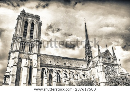 Notre Dame in paris, exterior view on a cloudy day. - stock photo