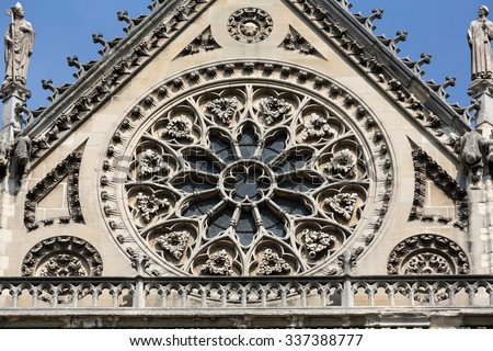 Notre Dame in Paris south facade with rose window - stock photo
