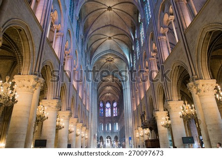 notre dame paris cathedral dome internal - stock photo