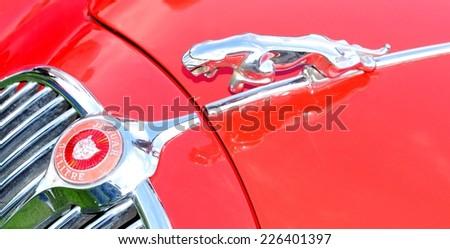 NOTTINGHAM, UK. JUNE 1, 2014: Detail of logo of a Jaguar vintage car for sale in Nottingham, England. - stock photo