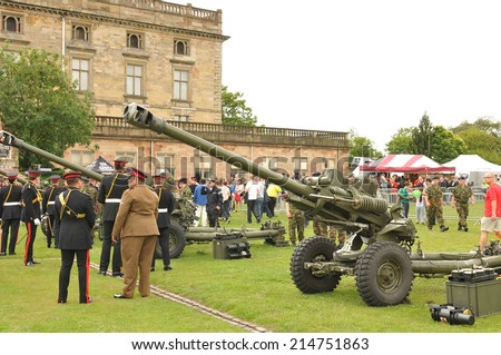 NOTTINGHAM, UK - MAY 25, 2011: Military forces and equipment displayed at the Armed Forces Day in Nottingham - stock photo