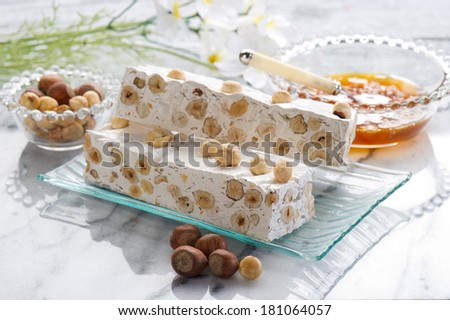 nougat with ingredients - stock photo