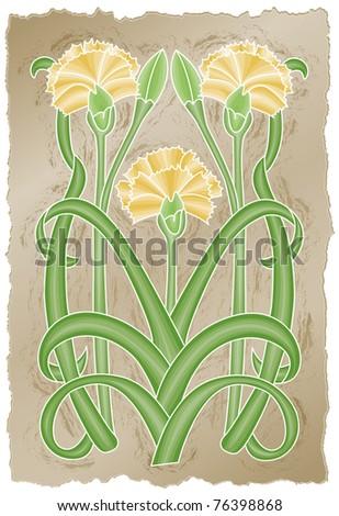 Nouveau Chrysanthemums - Raster Version - stock photo
