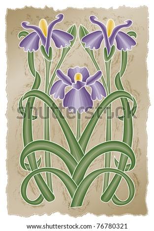 Nouveau Iris - Raster Version - stock photo