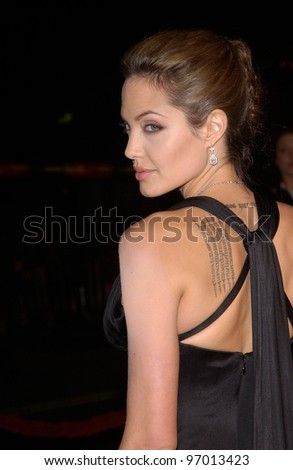 Nov 16, 2004; Los Angeles, CA: Actress ANGELINA JOLIE at the world premiere, in Hollywood, of her new movie Alexander. - stock photo