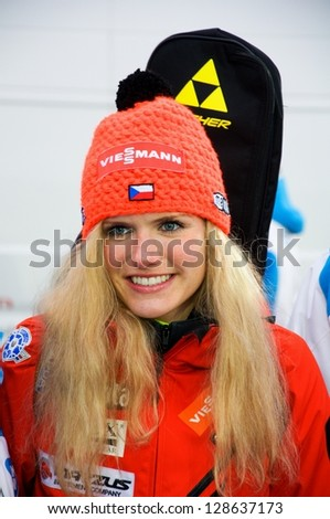 NOVE MESTO NA MORAVE - FEBRUARY 17: Czech biathlon competitor Gabriela Soukalova at IBU World Championship in biathlon 2013 in Nove Mesto na Morave 2013, February 17, Czech republic - stock photo