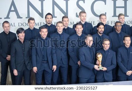 "NOVEMBER 10, 2014 - BERLIN: German nation football team - premiere of the documentary film ""Die Mannschaft"" (the team) about the win of the football world cup 2014, Sony Center, Berlin. - stock photo"
