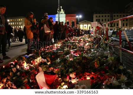 NOVEMBER 14, 2015 - BERLIN:  mourning at the French Embassy in Berlin for the victims of the massacres in Paris of November 13, 2015. - stock photo
