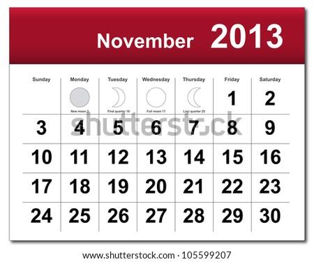 November 2013 calendar - stock photo